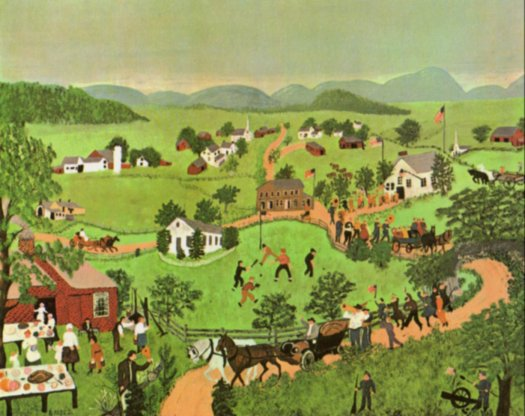 Credit: Grandma Moses: July Fourth. Copyright © 1951 (renewed 1979) Grandma Moses Properties Co., New York.